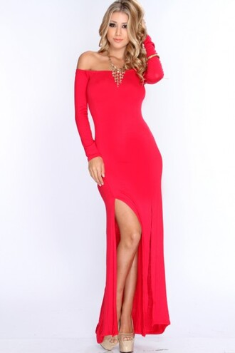 maxi dress sexy maxi long sleeve maxi dress amiclubwear hot red maxi dress double split