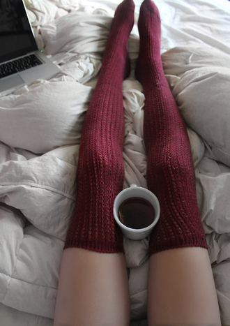 underwear socks long socks burgundy maroon socks knitted socks knee high socks winter outfits cozy