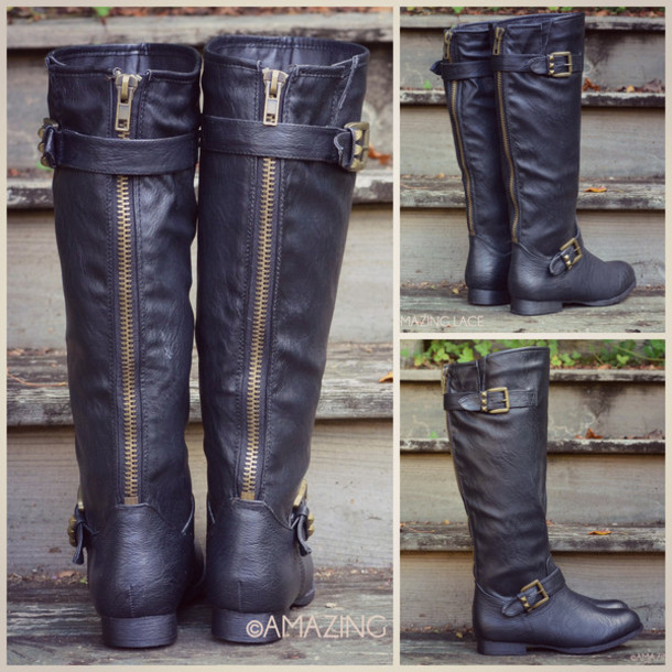 Shoes: boots, fall boots, tall boots, studded shoes, buckle detail ...