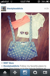 shorts,overalls,polka dot jean,light blue jeans,shirt,suspenders