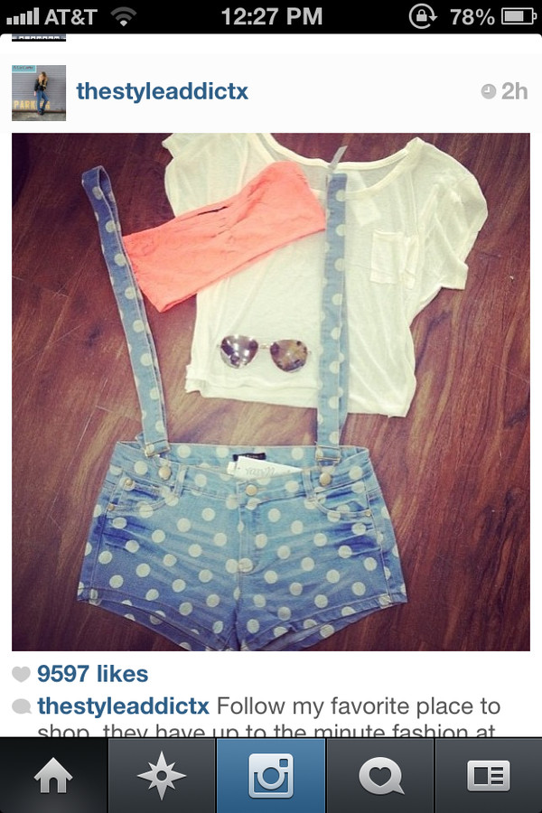 shorts overalls polka dot jean light blue jeans shirt suspenders