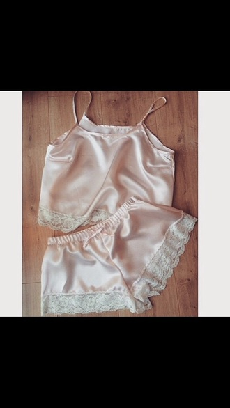 pajamas silk lace shirt lace shorts