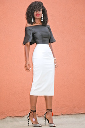 blogger,blouse,jewels,shoes,black blouse,white skirt,off the shoulder,pencil skirt,statement earrings,black heels,black girls killin it,black girls slayin,printed sandals,sandals,sandal heels,high heel sandals,off the shoulder top,bell sleeves,pompon earrings
