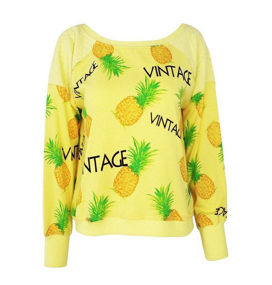 top cute sweater yellow pineapple print pullover vintage