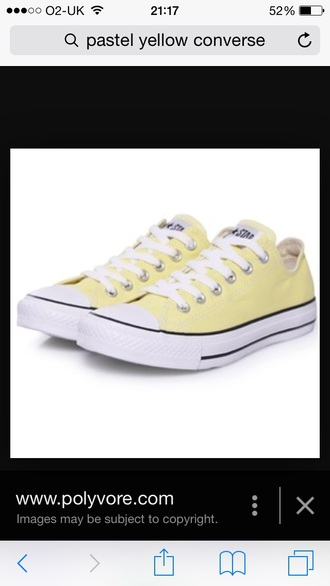 shoes converse all star lo-top yellow pastel