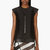 rick owens black silk and leather laced breast plate vest