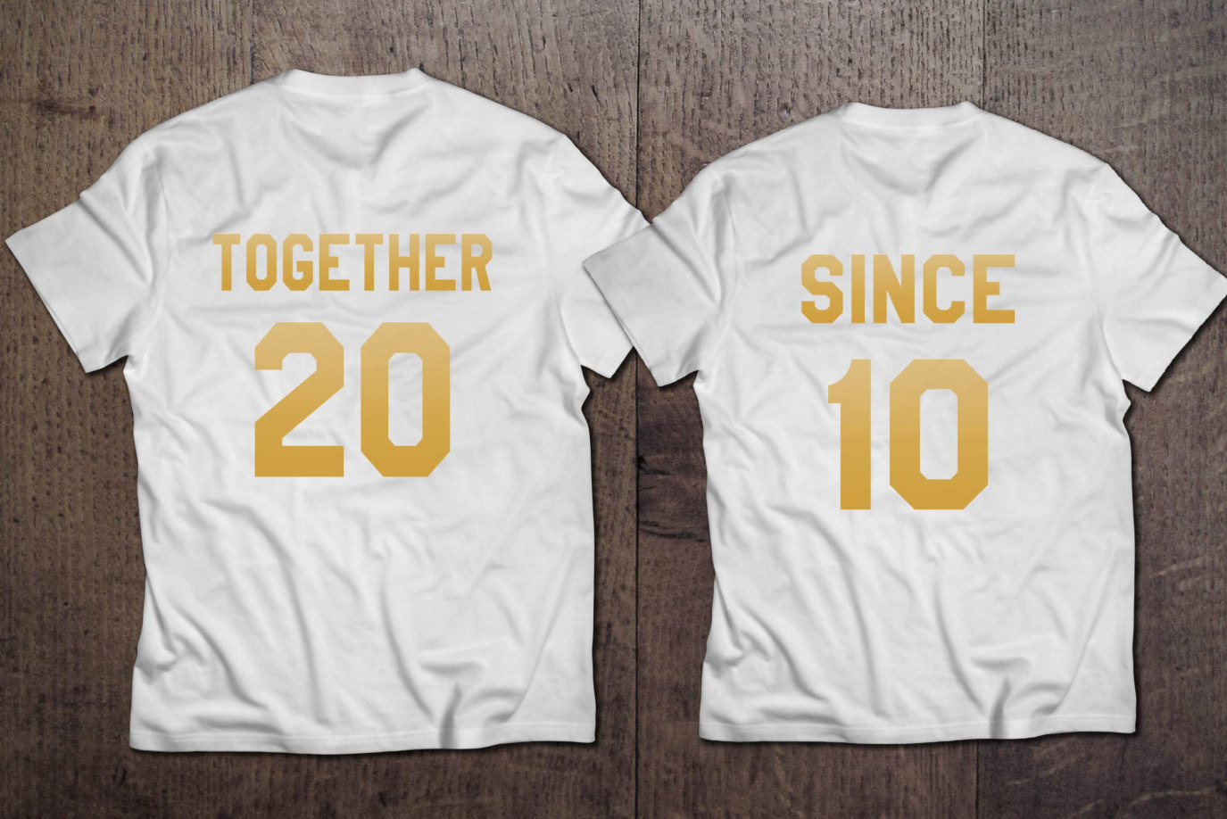Together Since Set of 2 Couple T-shirts , Together Since Couples Shirt Set , Together Since shirts, 100% cotton T-SHIRTS , Gold edition