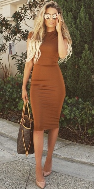 dress midi dress brown dress beige dress