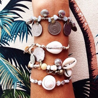 jewels shell tropical instagram beaded beach bracelets coin bracelet summer sea of shoes ocean fashion toast accessory arm bracelet accessories ootd charm bracelet stacked bracelets