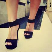 shoes,high heels,heels,gold,black,straps,ankles,cute,urgent,black  high heels,black gold heels,cute high heels,high heel sandals,black gold heels suede