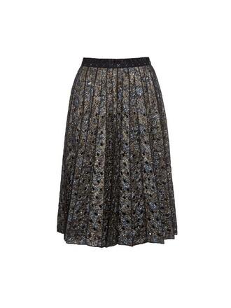 skirt pleated skirt pleated metallic floral navy