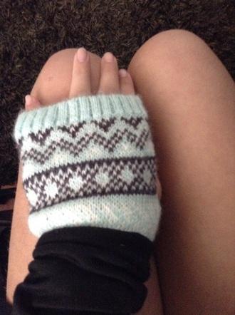 gloves wool patterned aqua