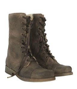 Euc all saints spitalfields womens shearling suede military combat boots sz 39