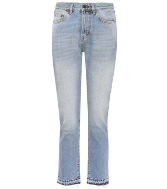 Saint Laurent jeans embroidered fit cotton blue