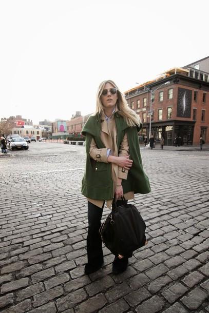devon rachel blogger cape olive green beige beige jacket