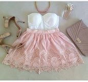 skirt,pink dress,pom pom shorts,pink skirt,bustier,whole outfit..,white dress,bustier dress,belly piercing,belly button ring,necklace,top