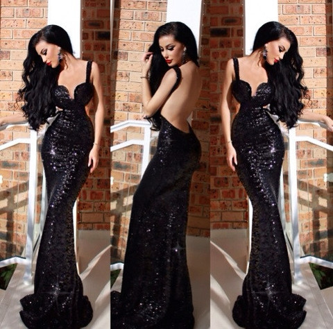 Aliexpress.com : Buy Gorgeous Luxury Sweetheart Spaghetti Straps Long Mermaid Prom Dresses 2014 Black Sequined Lace Backless Party Gown from Reliable gown meaning suppliers on Suzhou Babyonlinedress Co.,Ltd