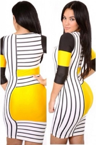 dress colour block chic date dress wots-hot-right-now yellow yellow dress stripes striped dress stylish trendy colorful party dress sexy dress club dress