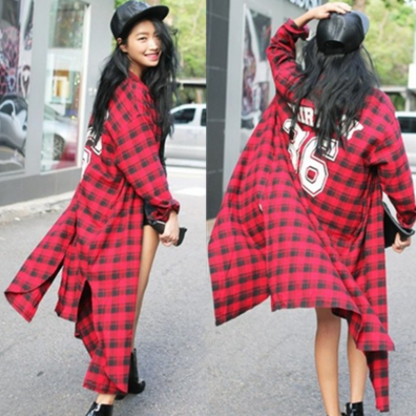36 tartan long blouse