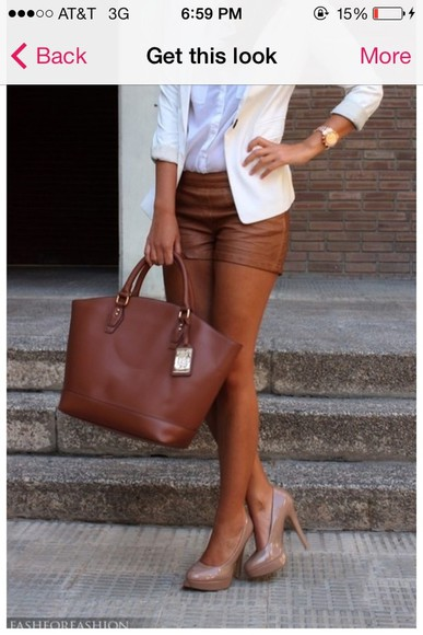 caramel shoes cute leather shorts rusty brown chic stylish dope as f*** classy stay classy must haves