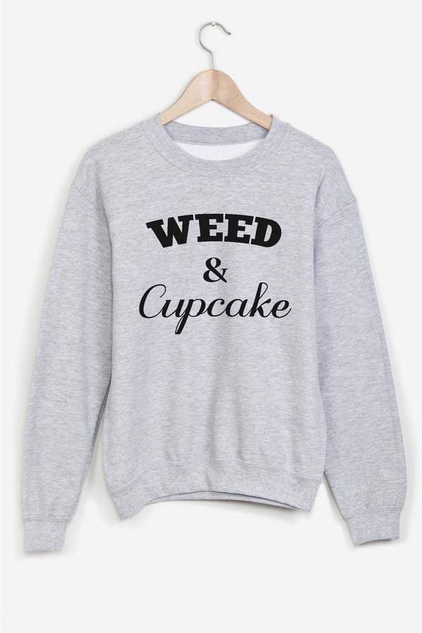 sweater print grey typo weed fashion cupcake cool shirts streetwear