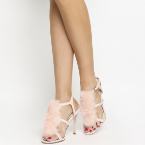 Light Pink Trendy Fur Heels Open Toe Stiletto Heel Sandals