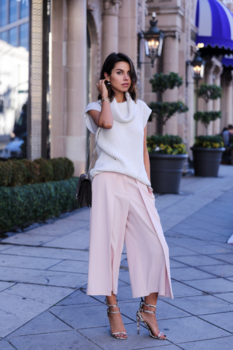 viva luxury blogger culottes knitwear baby pink sandals