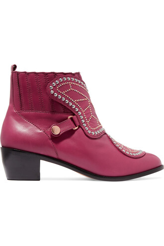 leather ankle boots studded butterfly boots ankle boots leather plum shoes