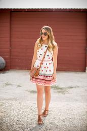 gal meets glam,shoes,bag,make-up,summer outfits,summer dress,clutch,sunglasses,sandals,pattern,dress,aztec,print,patterned dress,classy,beach