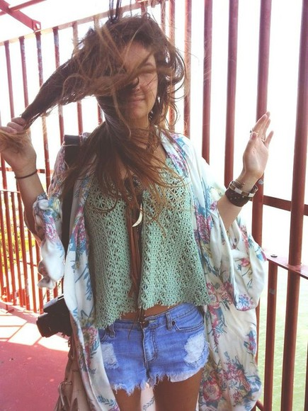 sea-green shirt jacket floral crochet crochet top mint boho vintage