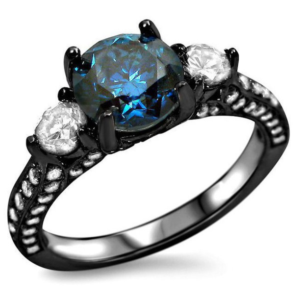 Jewels blue diamond ring 3 stone engagement ring black engagement ring bl