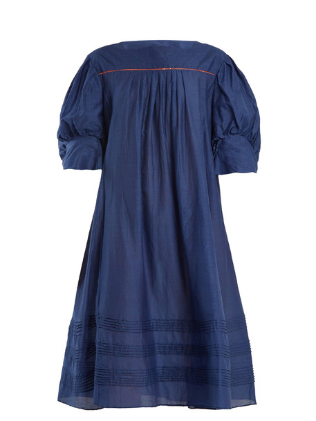 THIERRY COLSON Jours De Venise puff-sleeve dress in navy