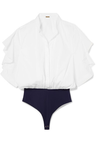 bodysuit white cotton knit underwear