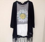 shorts,white,flowers,grey,black cardigan with fringe,shirt,jacket