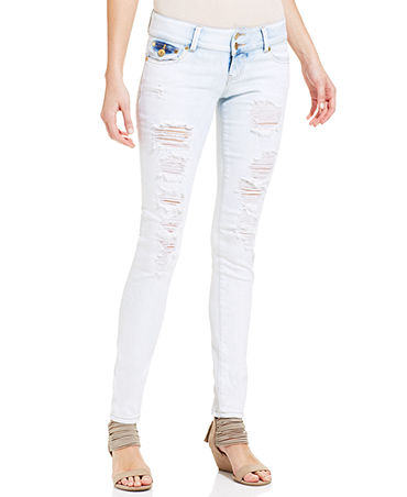 Celebrity Pink Jeans Juniors' Destroyed Skinny Jeans - Juniors Jeans - Macy's