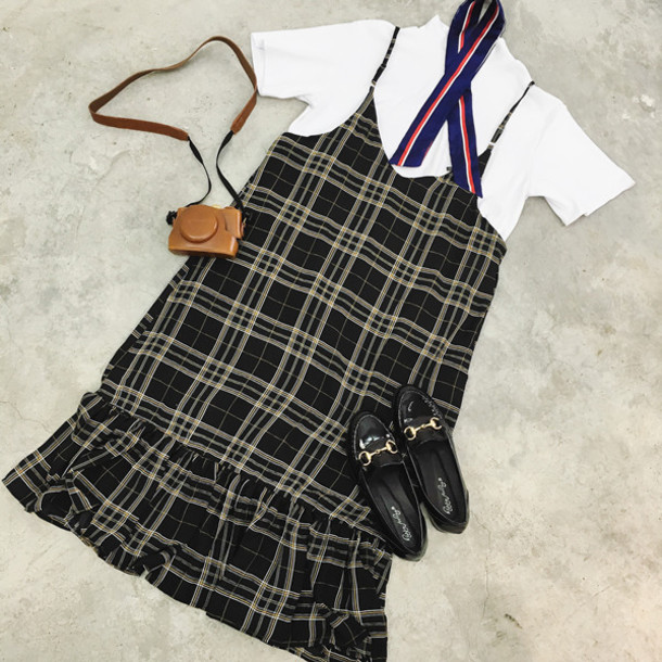 dress korean fashion korean style checkered plaid suspenders navy red long dress storenvy asian fashion suspenders