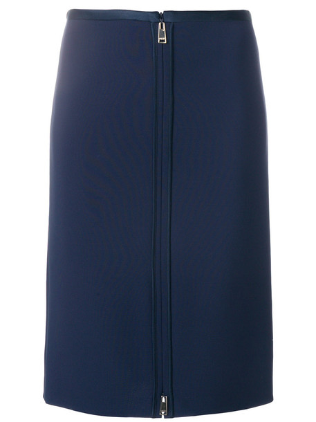 VERSACE skirt pencil skirt zip women spandex blue silk