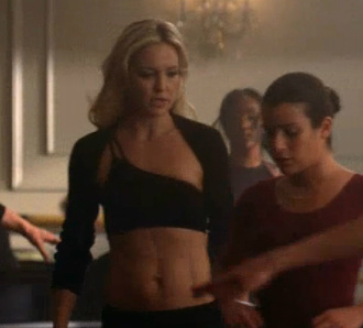 swimwear glee cassandra july sports bra black one shoulder abs blonde hair tv tv show kate hudson