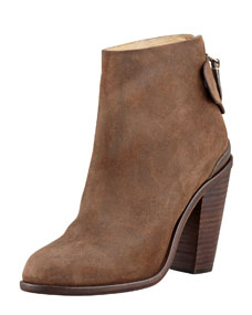 Tab leather ankle boot, brown