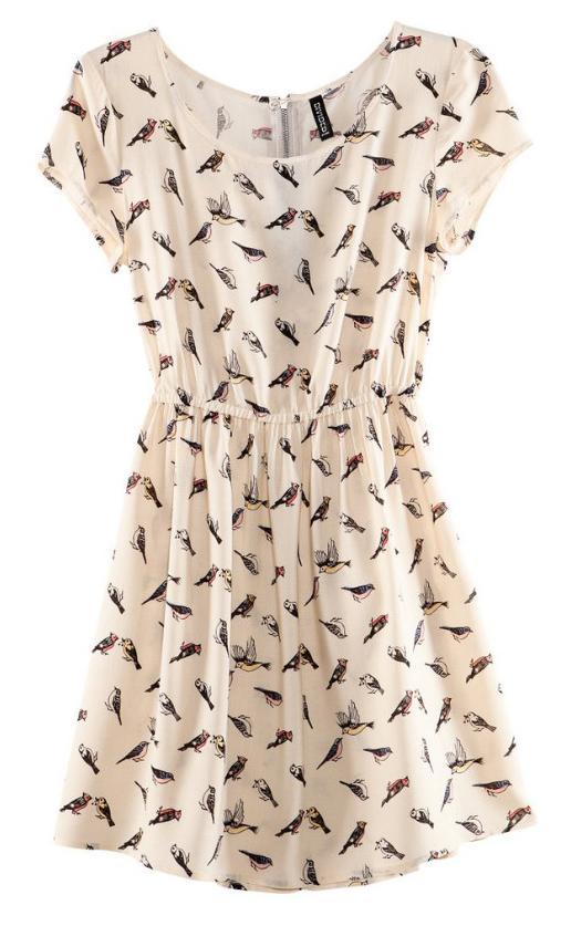 White bird print chiffon tunic dress