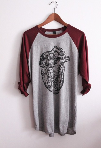 shirt heart red grey long sleeves print printed t-shirt grunge grunge t-shirt