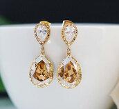 jewels,earrings,champagne colour,diamonds,rhinestones,golden earrings