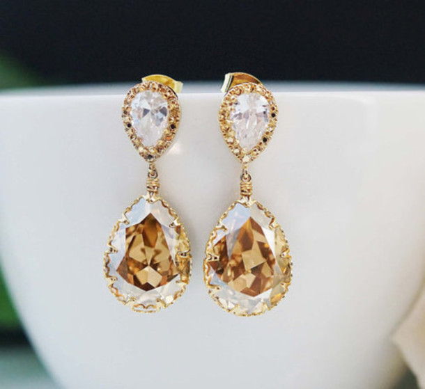 jewels earrings champagne colour diamonds rhinestones golden earrings