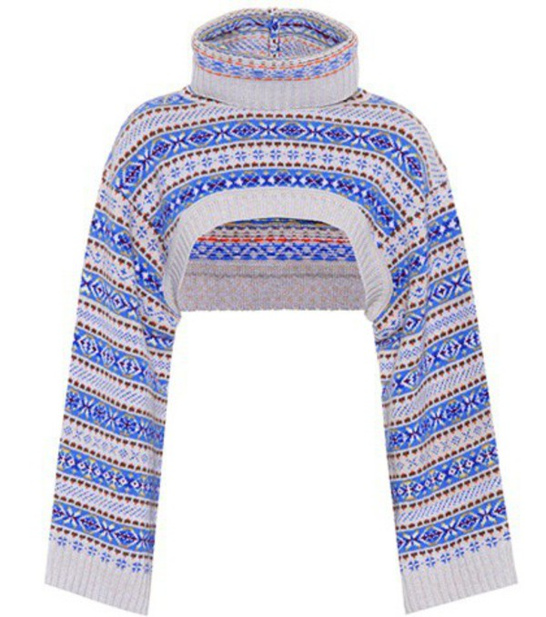 Stella McCartney Cropped wool sweater in blue