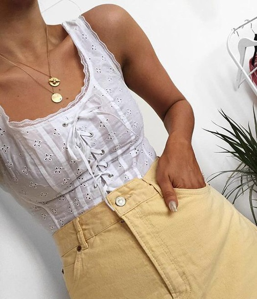 top lace tie front white tank top corset top shirt cute vintage lace up tumblr