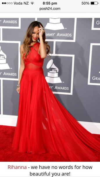 dress rihanna dress red