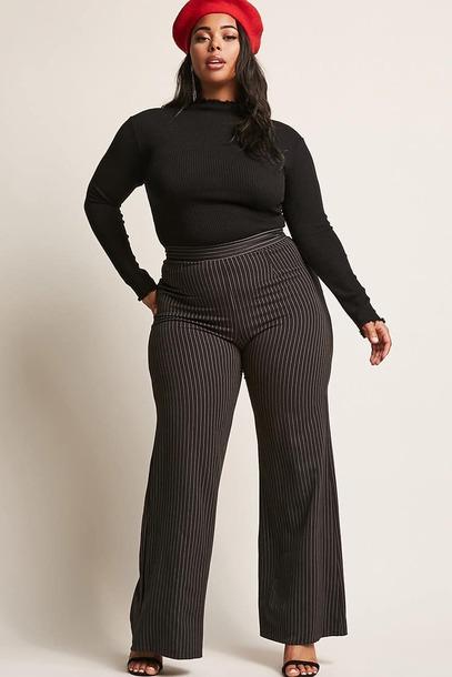 pants curvy plus size high waisted pants stripes