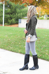 lilly's style,blogger,jacket,t-shirt,jeans,shoes,bag,jewels,sunglasses,fall outfits,crossbody bag,wellies,raincoat,j crew,nordstrom,black boots,kate spade,rayban