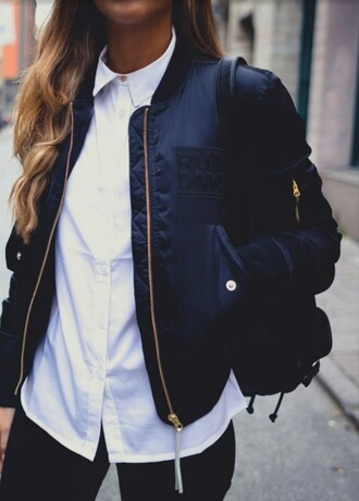 jacket navy white white shirt collar shirt black black pants bomber jacket