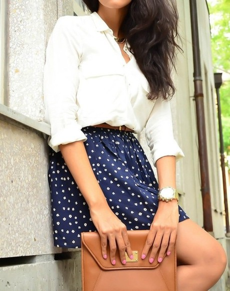 dotted shirt polka dots skirt dotted skirt white clutch beige blue skirt blue white shirt bag